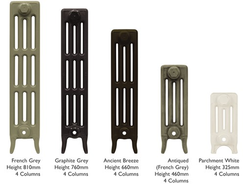 Victorian 4 column cast iron radiator heights in various paint colours