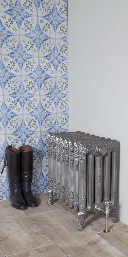 turin decorative cast iron radiator in hand burnished finish