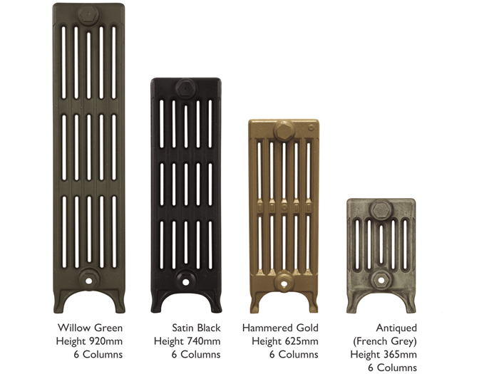 Victorian 6 column cast iron radiator sections in various painted finishes