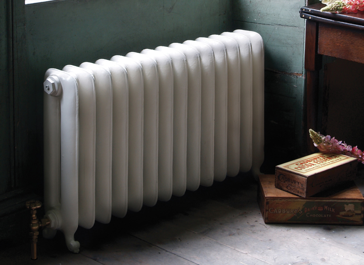 Duchess 2 column cast iron radiator in parchment white finish