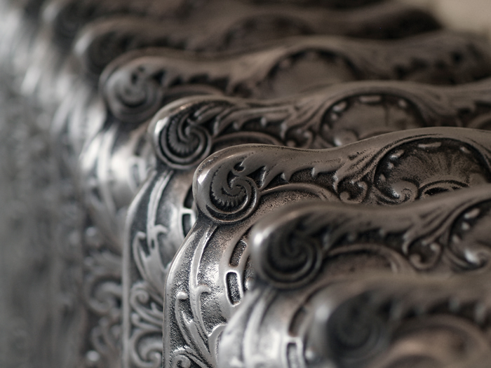 Rococo hand burnished cast iron radiator detail
