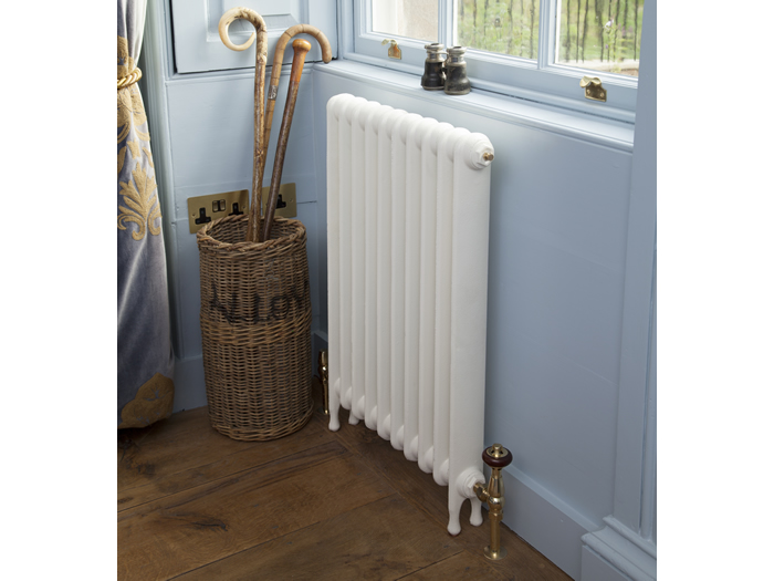 Narrow Eton cast iron radiator painted in parchment white