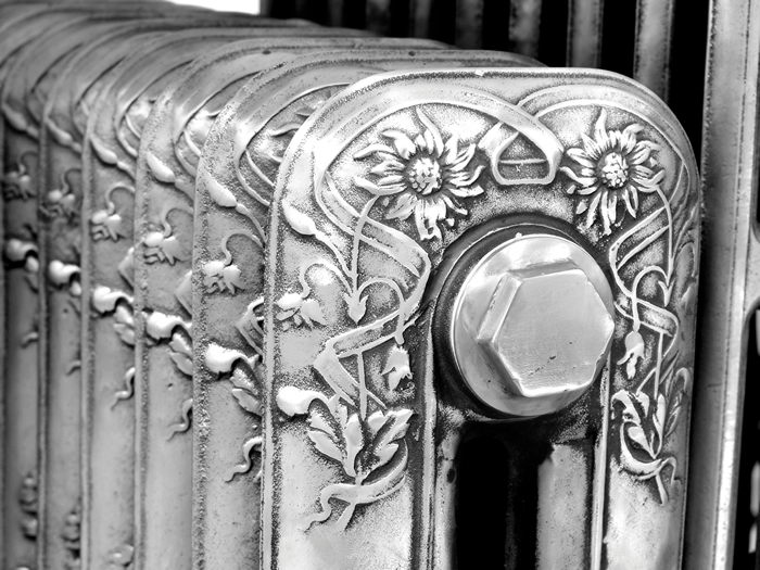 Daisy hand burnished cast iron radiator floral detail