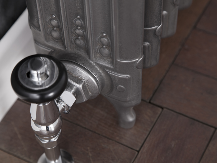 Deco cast iron radiator fitted with thermostatic value