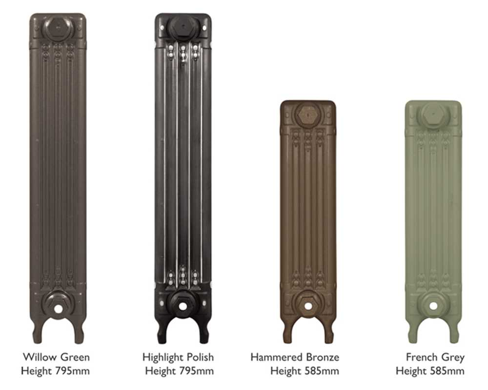 Deco painted cast iron radiator sections highlight polish finish