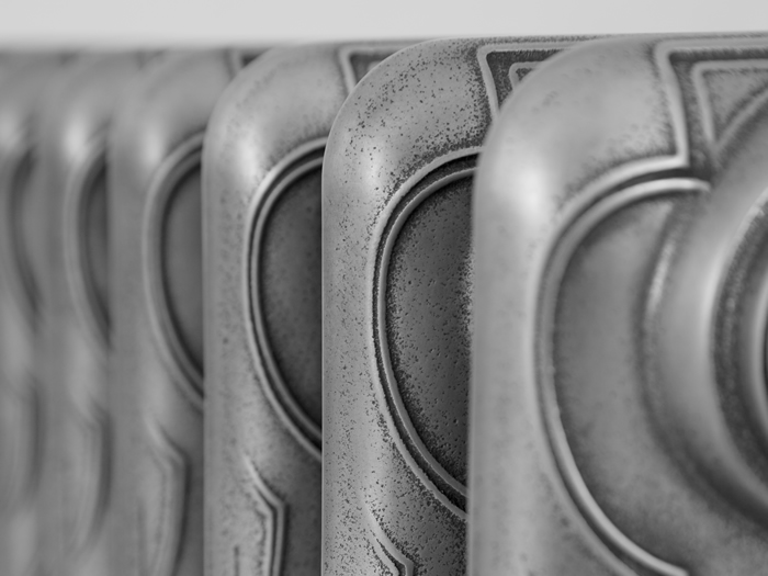 Liberty hand burnished cast iron radiator detail