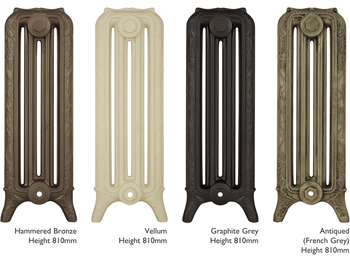 Ribbon 4 column cast iron radiator sections in various painted finishes