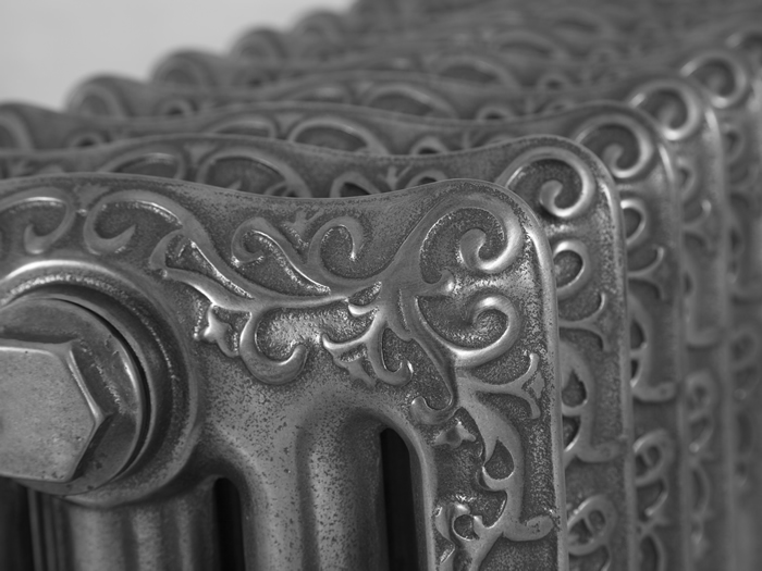 Turin hand burnished cast iron radiator detail