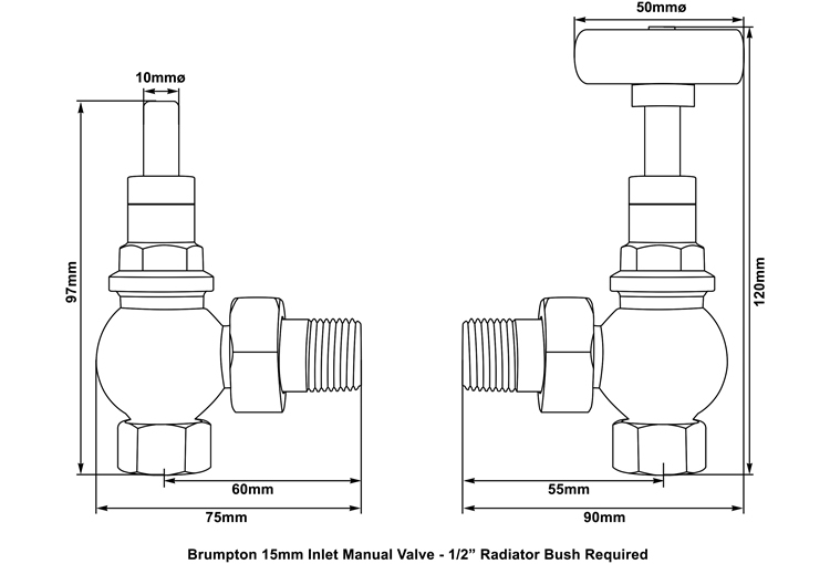 brumpton manual valve measurements