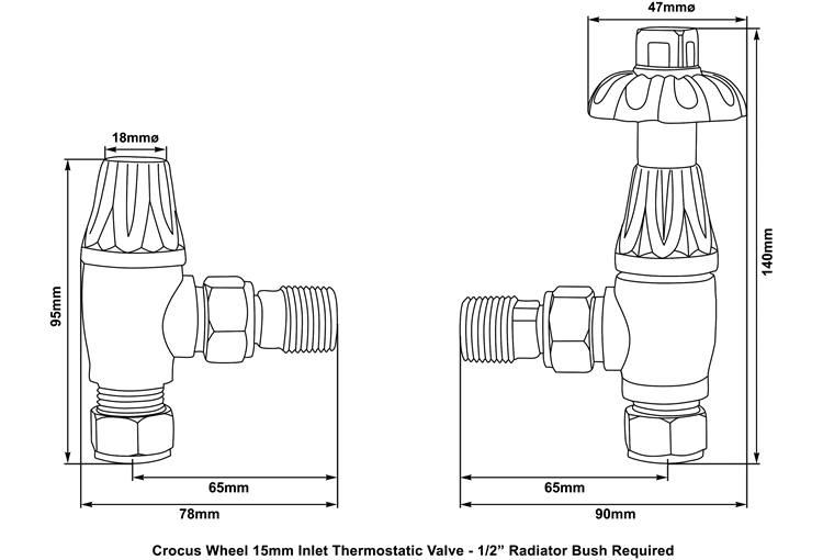 crocus thermostatic valve measurements