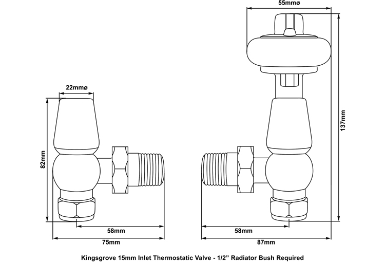 kingsgrove thermostatic valve measurements