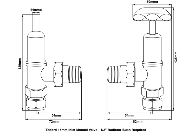 telford manual valve measurements