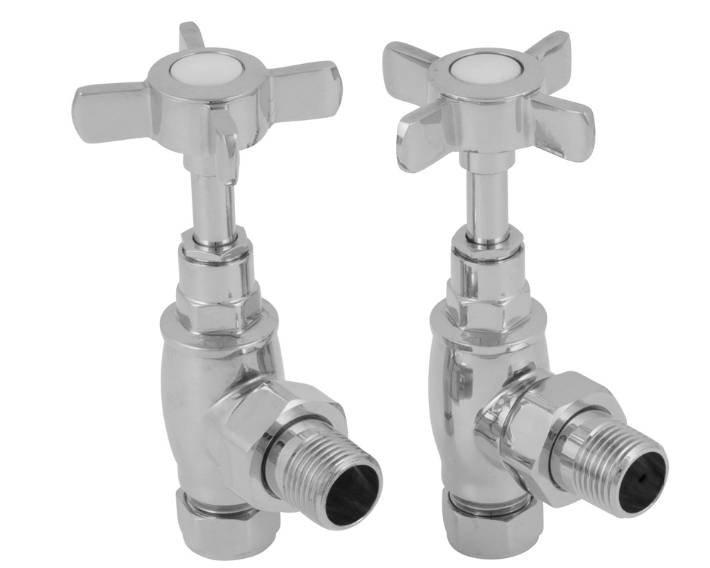 towel rail manual chrome radiator valve set
